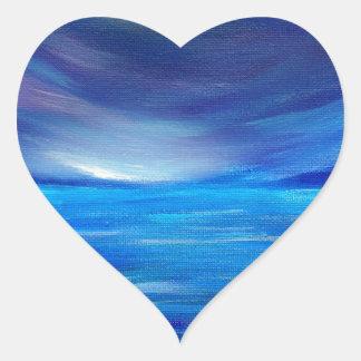 Sticker Cœur Paysage marin abstrait de bleu et de pourpre