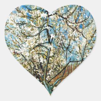 Sticker Cœur Pêchers dans la fleur Vincent van Gogh
