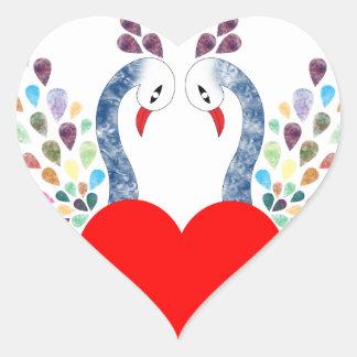 Sticker Cœur pecock d'amour