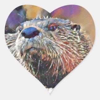 Sticker Cœur Peinture à l'huile de Digitals de loutre de
