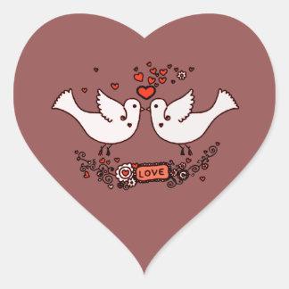 Sticker Cœur Perruches 2