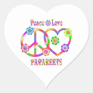 Sticker Cœur Perruches d'amour de paix