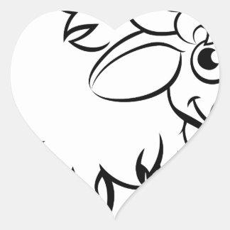 Sticker Cœur Personnage de dessin animé de yaks
