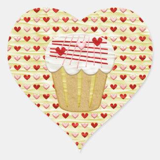 Sticker Cœur Petit gâteau de Valentine avec des bougies de