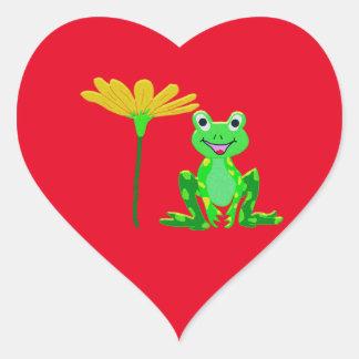 Sticker Cœur petite grenouille et fleur jaune