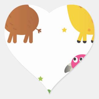 Sticker Cœur Petits animaux mignons sur le blanc/T-shirts