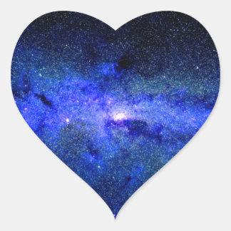 Sticker Cœur Photo de l'espace de galaxie de manière laiteuse
