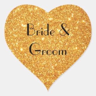 Sticker Cœur Photo de scintillement d'or de mariage de jeunes