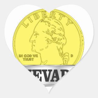 Sticker Cœur Pièce d'or du Nevada