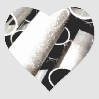 Sticker Cœur pile de tubes en métal