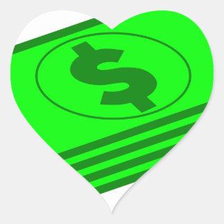 Sticker Cœur Piles d'argent liquide