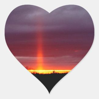 Sticker Cœur Pilier du feu au coucher du soleil, île de St