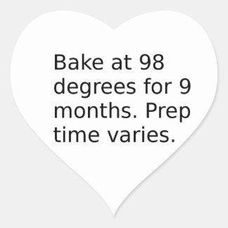 Sticker Cœur Plaisanterie de bébé - faites cuire au four à 98