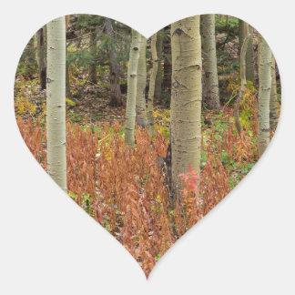 Sticker Cœur Plancher coloré de forêt d'Aspen