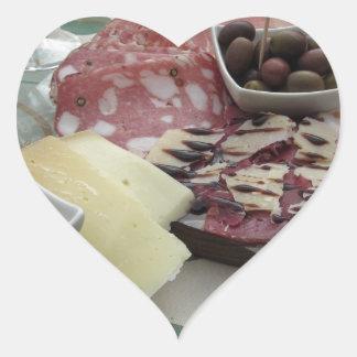 Sticker Cœur Plateau des coupes froides avec le prosciutto