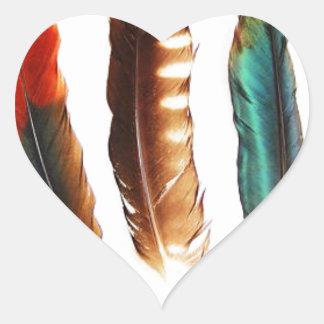 Sticker Cœur plumes colorées