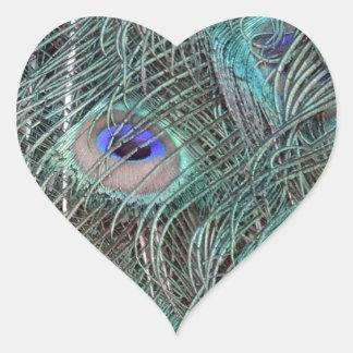 Sticker Cœur plumes de paon