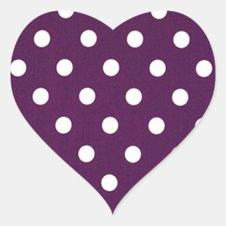 Sticker Cœur Pois blanc sur le pourpre foncé