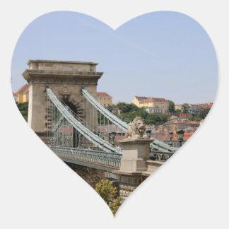 Sticker Cœur Pont à chaînes de Széchenyi, Budapest, Hongrie