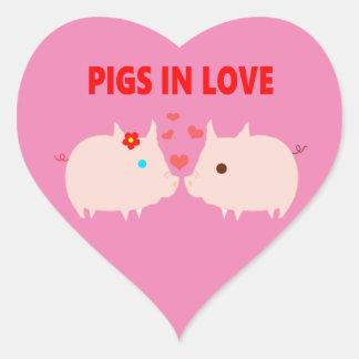 Sticker Cœur porcs dans l'amour