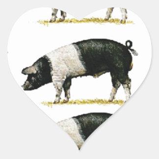 Sticker Cœur porcs dans une rangée
