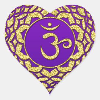 Sticker Cœur Pourpre de Chakra de couronne
