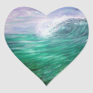 Sticker Cœur pourpre de vague de plage