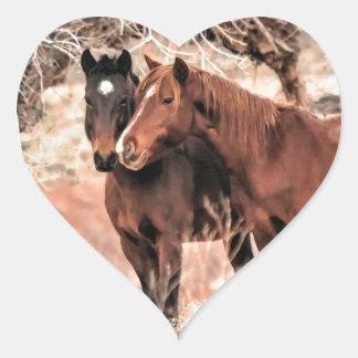 Sticker Cœur Pousser du nez des chevaux