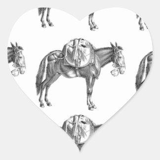 Sticker Cœur prière de mule de paquet