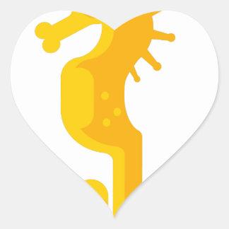 Sticker Cœur Primitif jaune d'hippocampe