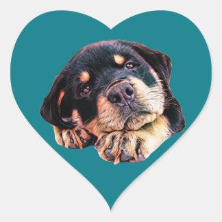 Sticker Cœur Race allemande canine de chien de Rott d'amour de