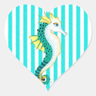 Sticker Cœur rayures de sarcelle d'hiver d'hippocampe