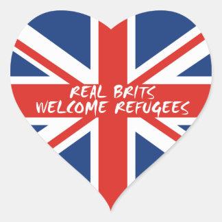 Sticker Cœur Réfugiés bienvenus de vrais Britanniques