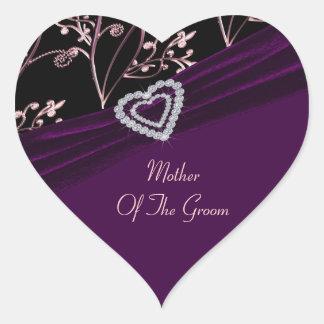 Sticker Cœur Remous floraux de coeur d'élégance de prune