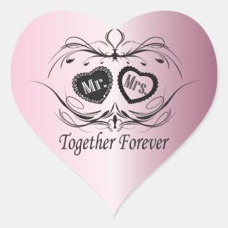 Sticker Cœur Rose de jour du mariage