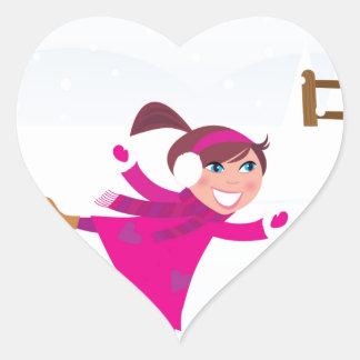 Sticker Cœur Rose d'enfant de patinage de glace