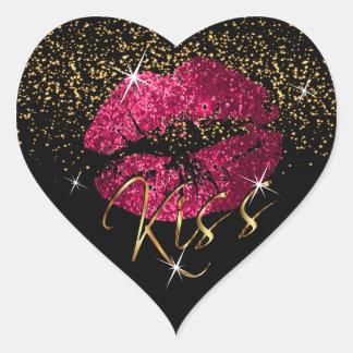 Sticker Cœur Roses indien de baiser et lèvres de scintillement