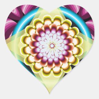 Sticker Cœur Rotations florales