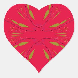 Sticker Cœur Rouge d'ethno de mandala