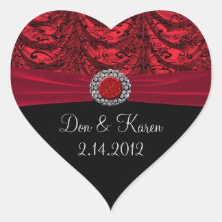 Sticker Cœur Rouge et coeur baroque drapé par noir
