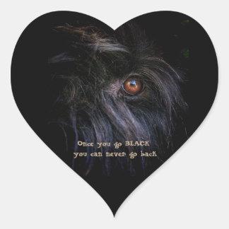 Sticker Cœur Russe noir Terrier