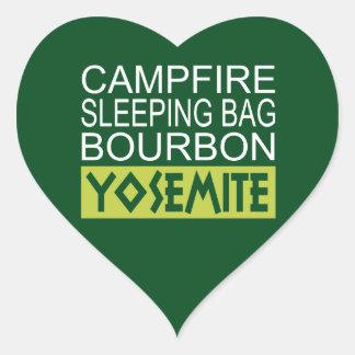Sticker Cœur Sac de couchage de feu de camp Bourbon Yosemite