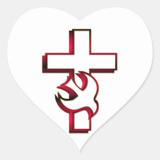 Sticker Cœur Saint-Esprit croisé et/Saint-Esprit