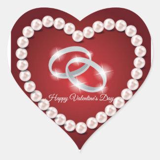 Sticker Cœur Saint-Valentin de rouge de coeur de perle