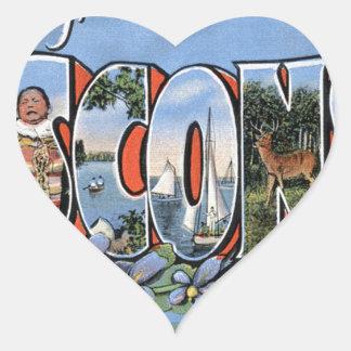 Sticker Cœur Salutations du Wisconsin
