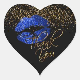 Sticker Cœur Scintillement bleu élégant Lipcolor - Merci