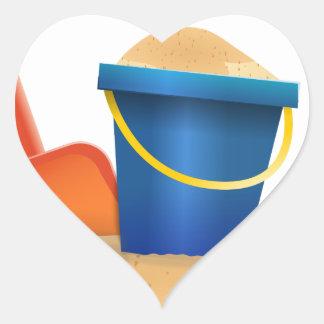 Sticker Cœur Seau de sable