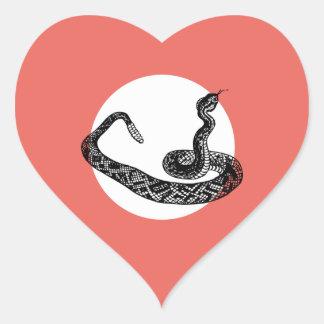 Sticker Cœur serpent de hochet