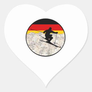 Sticker Cœur Ski Allemagne
