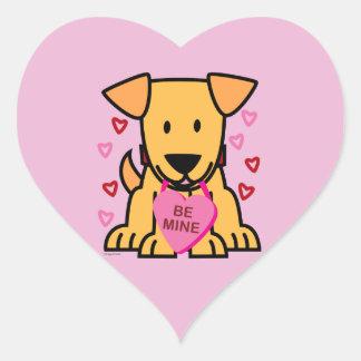 Sticker Cœur Soyez rose de Labrador de chiot de Valentine de